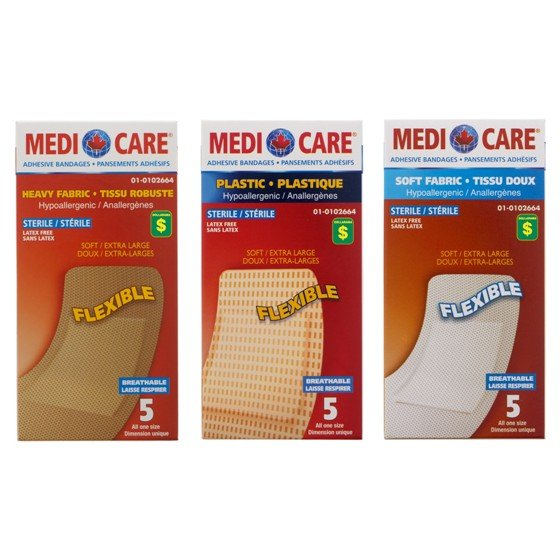 5PK Soft Fabric Adhesive Bandages