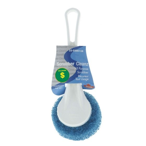 Round Scouring Pad with White Plastic Handle