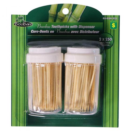 500PK Bamboo Toothpicks with Dispensers
