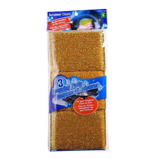 3PK Metallic Scouring Pads (Assorted Colours)