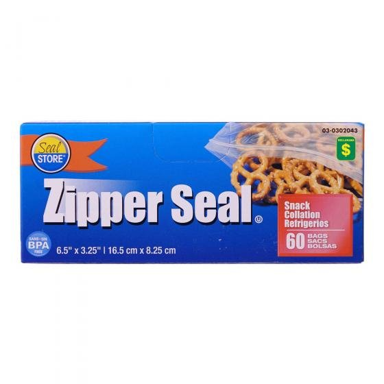 60PK Zipper Seal Snack Bags