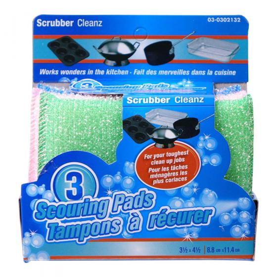 3PK Scouring Pads (Assorted colours)