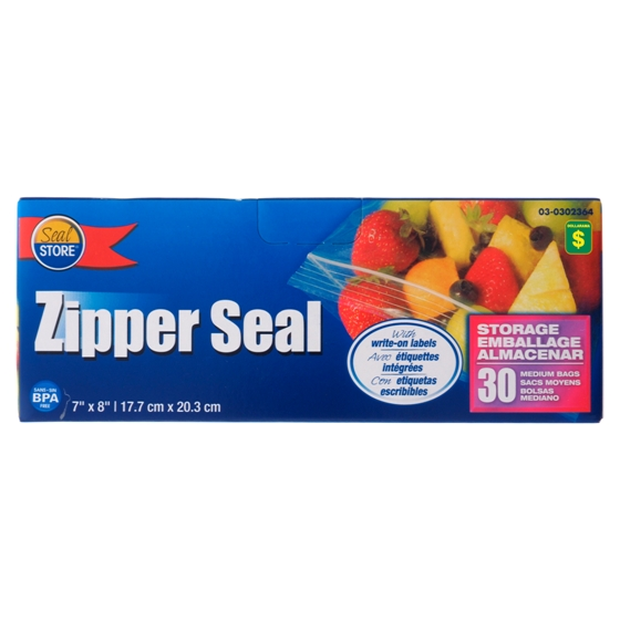 30PK Zipper Seal Medium Bags
