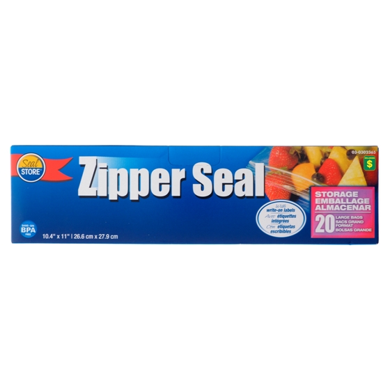 20PK Zipper Seal Large Bags