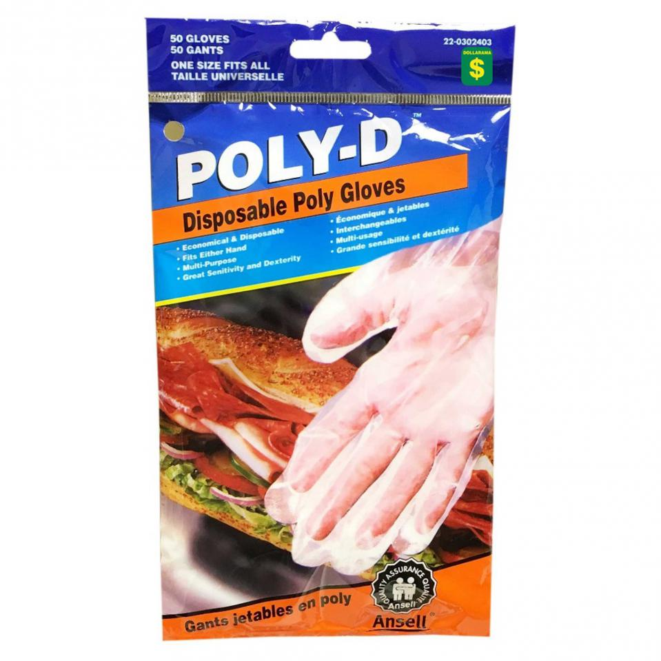 50PK Disposable Poly Gloves
