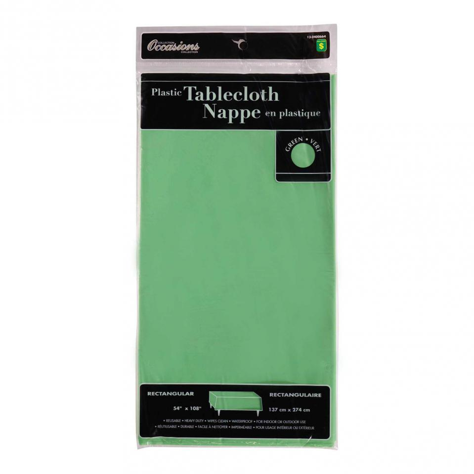 Rectangular Green Plastic Tablecloth