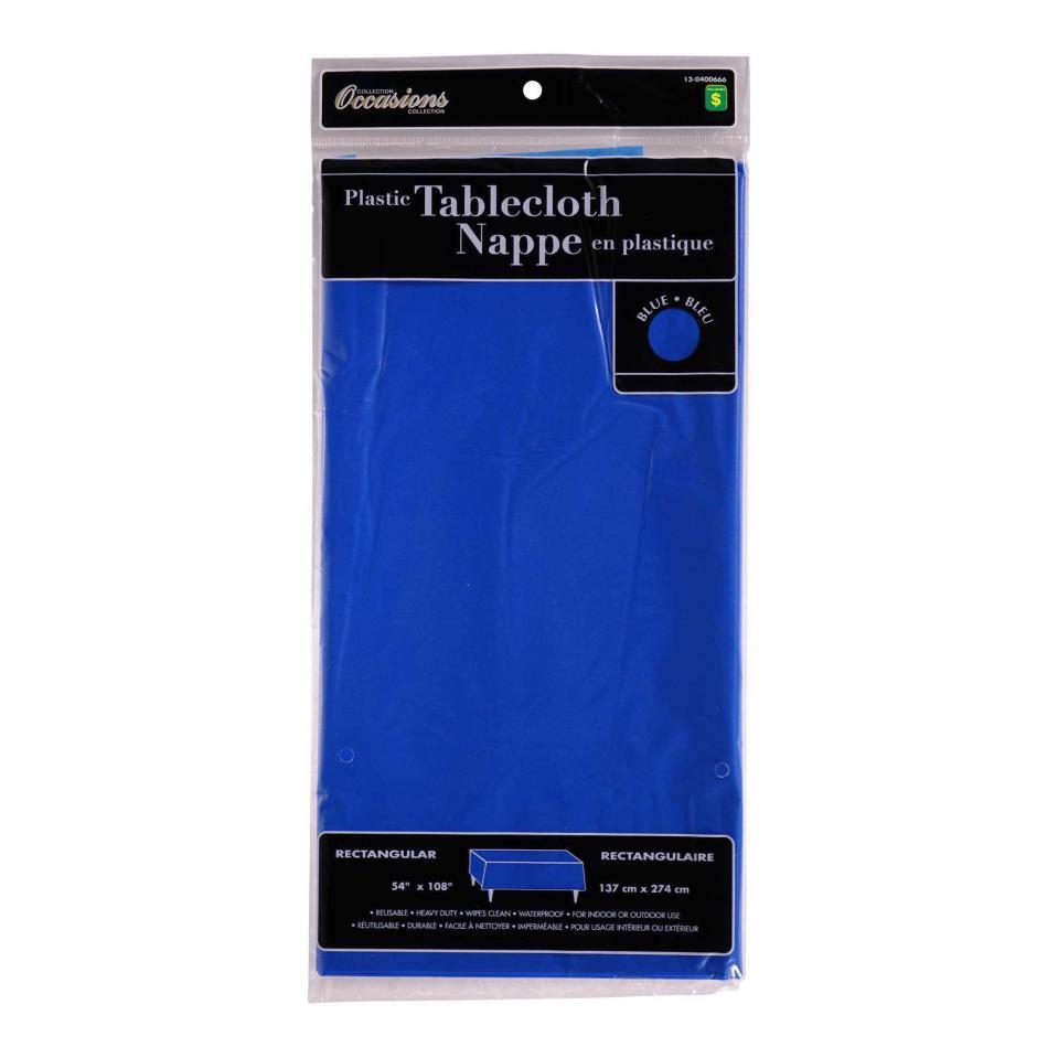 Rectangular Blue Plastic Tablecloth