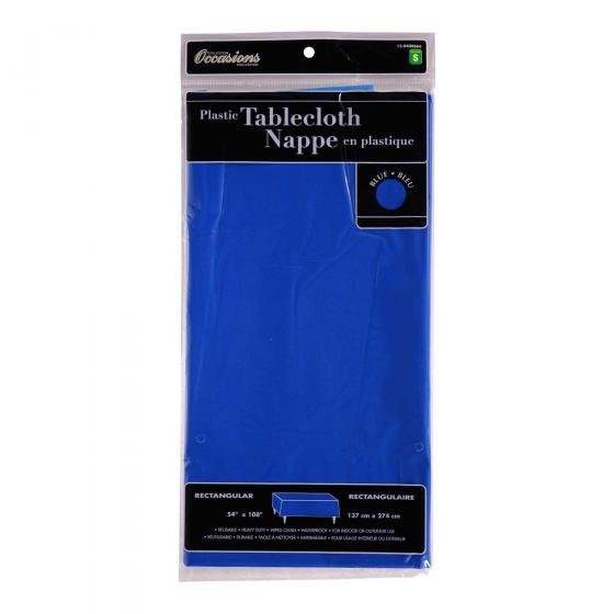 Rectangular Blue Plastic Tablecloth