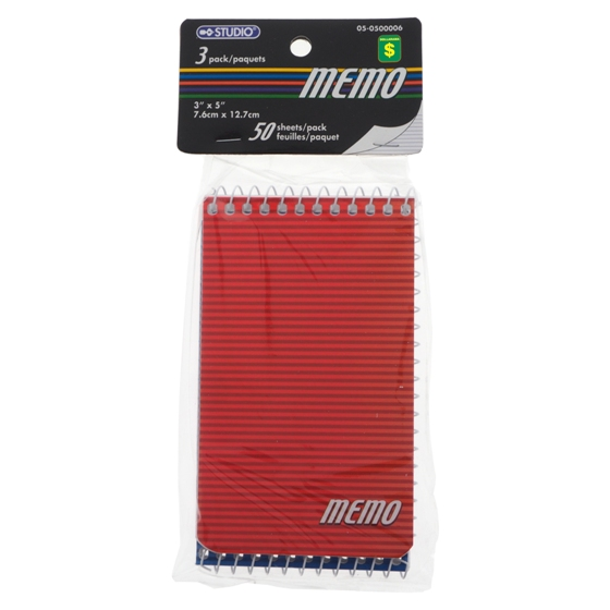 Spiral Memo Note Pads 3PK (Assorted Colours)