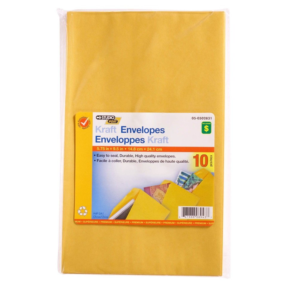 "Kraft Envelopes 5.75"" x 9.5"", 10PK"