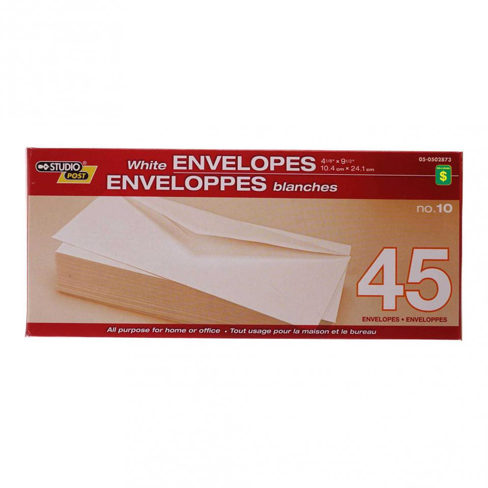 "4.17""x9.5""  White Envelopes"