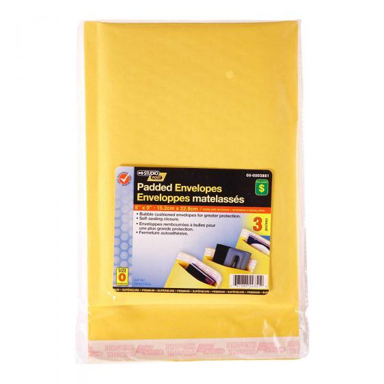 "3PK Padded Envelopes 6""x9"""