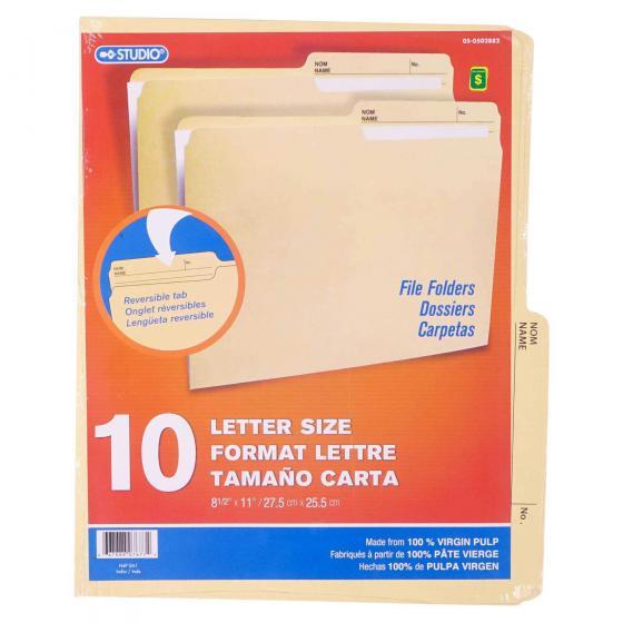 10PK Letter Size File Folders