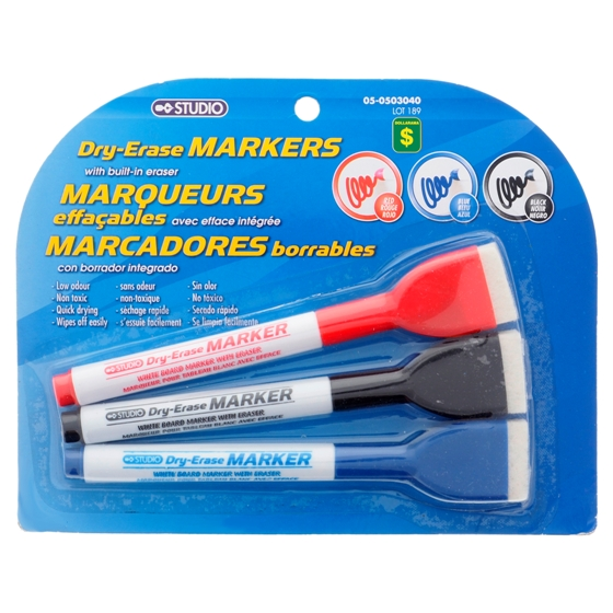Dry-Erase Markers with Built-in Eraser 3PK (Assorted Colours)