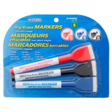 Dry-Erase Markers with Built-in Eraser 3PK (Assorted Colours) - 0