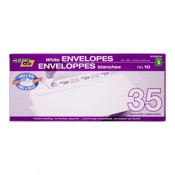 35PK Pull & Seal White Envelopes, no.10