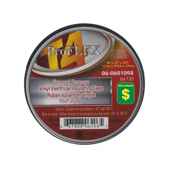 Vinyl Electrical Insulating Tape 2PK