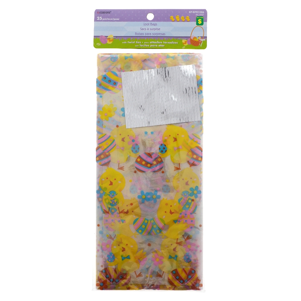 25Pk Easter Cellophane Bags With Ties