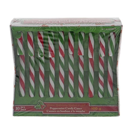 Paq. de 10 cannes en bonbon à la menthe de Noël