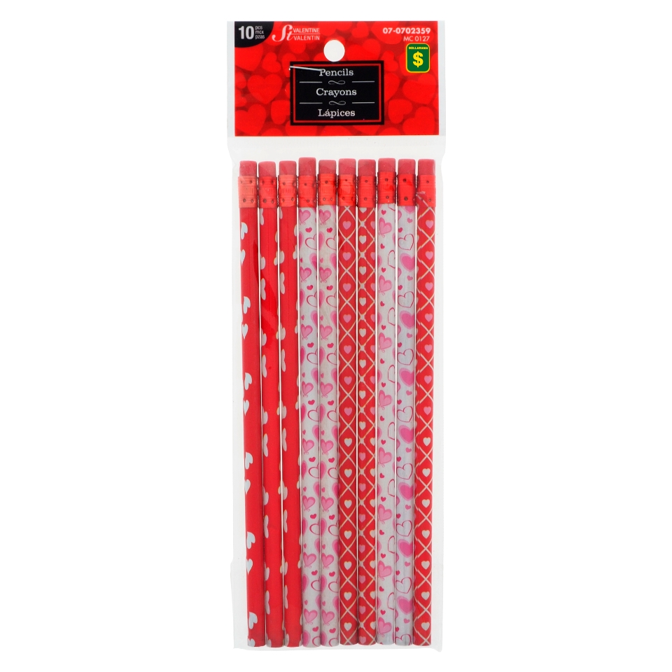 12PK Pencils with Hearts Designs