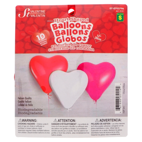 Heart Shaped Balloons 10PK