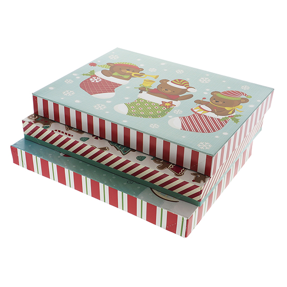 Gift Box Small Foldable 3PK (Assorted Colours and Patterns)