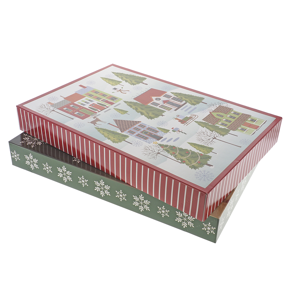 Gift Box Medium Foldable 2PK (Assorted Colours and Patterns)