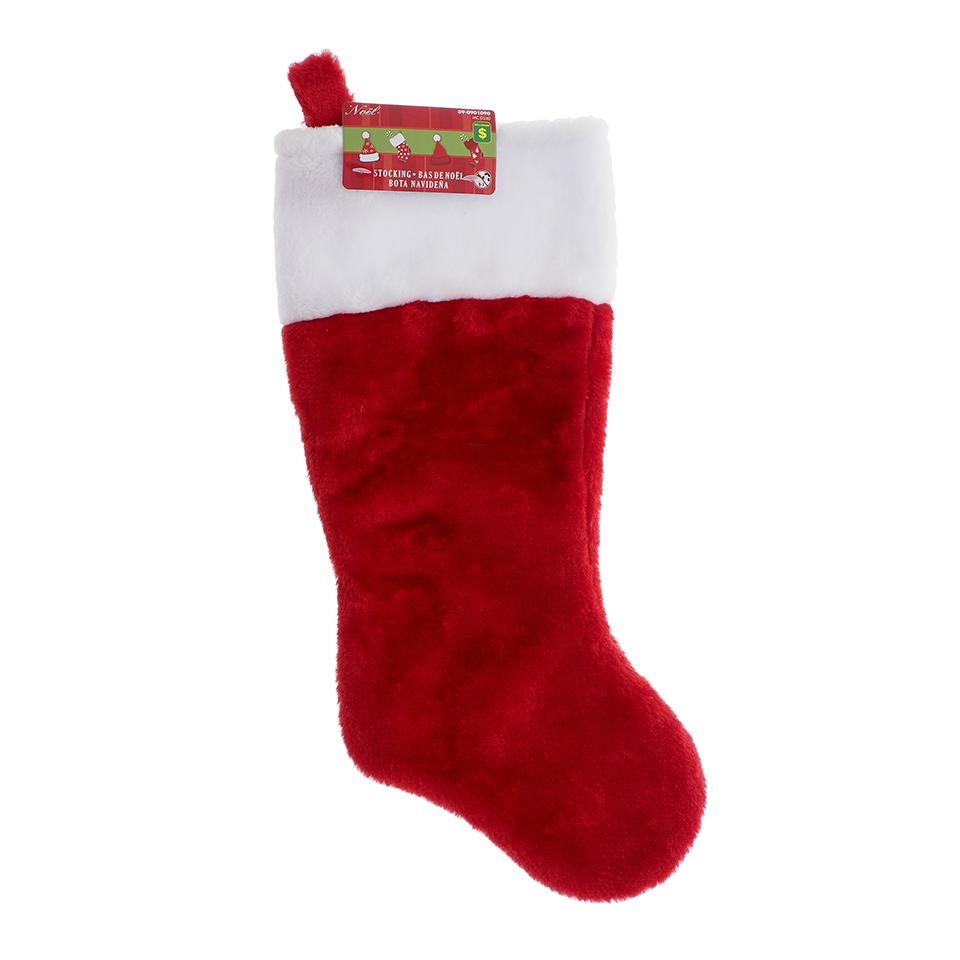 Christmas Plush Stocking with White Cuff