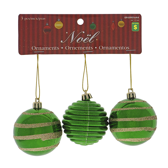 Paq. de 3 boules de Noël brillantes