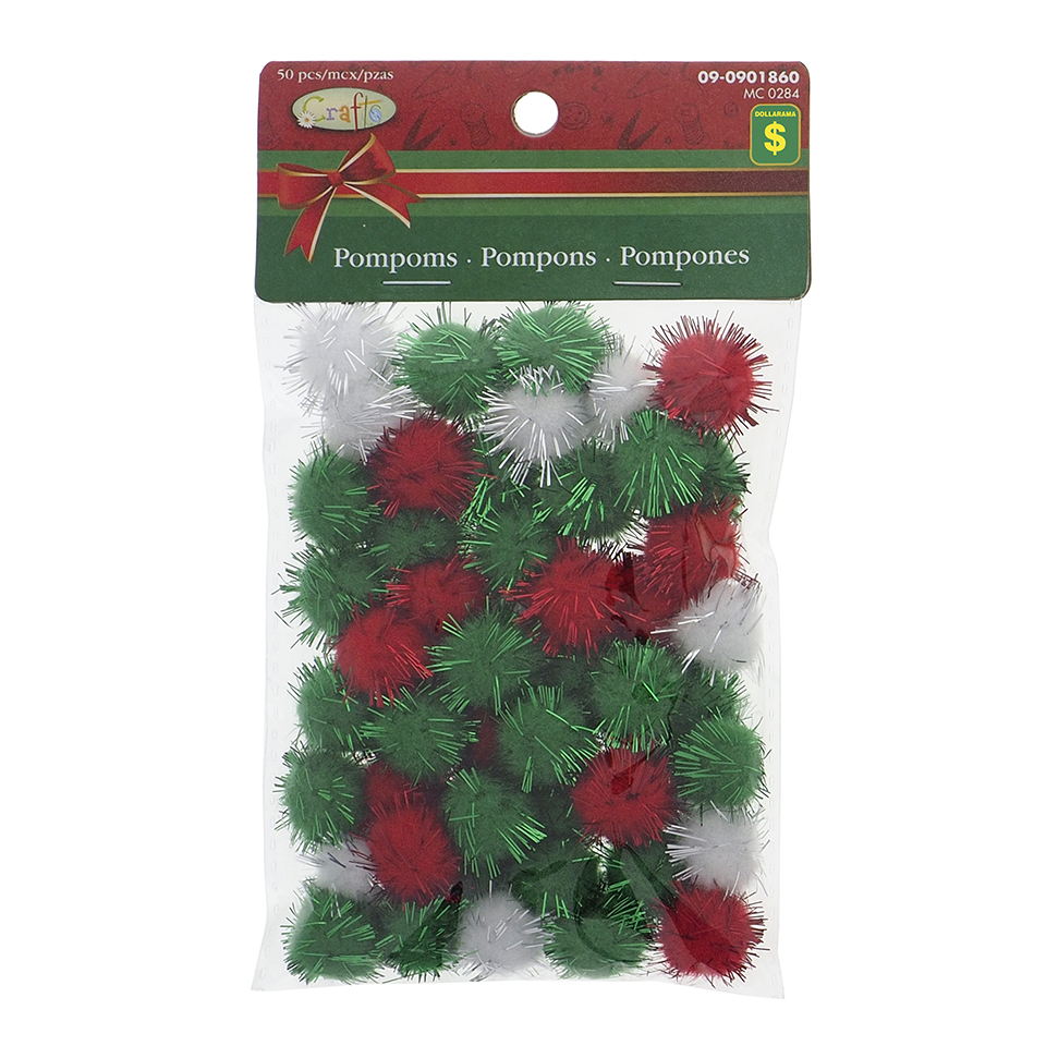 Craft Pom Poms With Tinsel 15Xlarge 50Xmed 100Xsmall