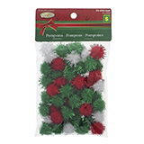 Craft Pom Poms With Tinsel 15Xlarge 50Xmed 100Xsmall - 0