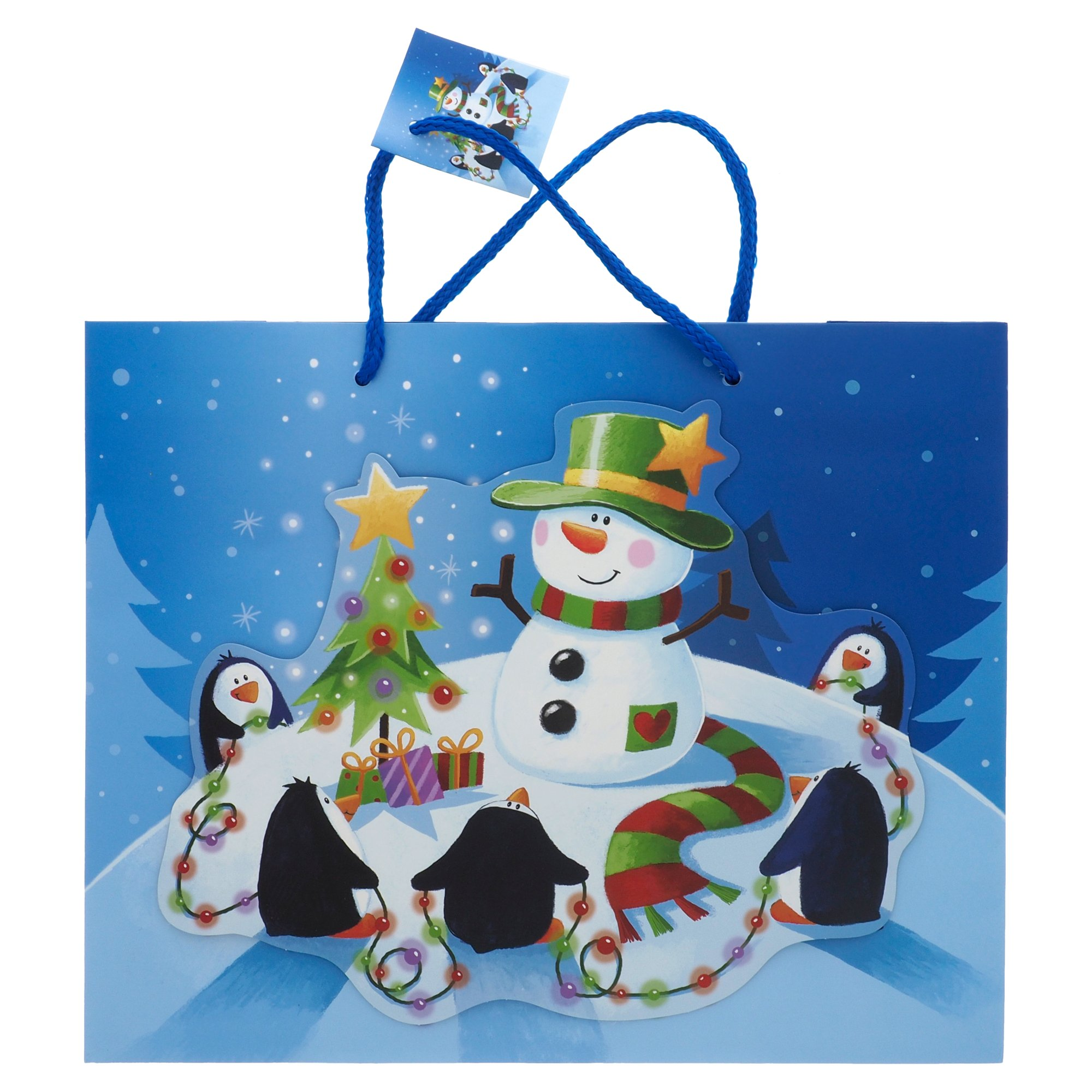 Grand sac à cadeau à motifs de Noël (Couleurs et motifs assortis)