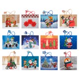 Grand sac à cadeau à motifs de Noël (Couleurs et motifs assortis) - 1