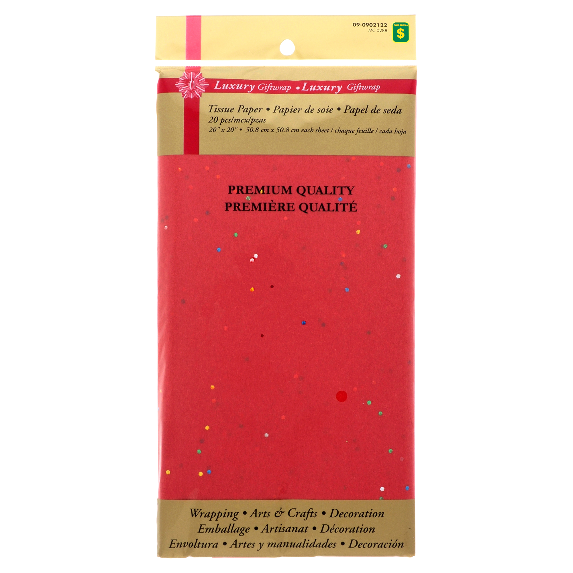 Tissue Wrapping Paper with Glitter Red 20 Sheets