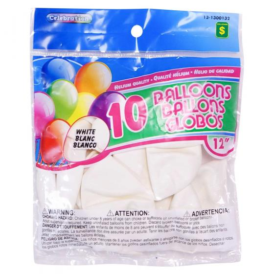 "10 Ballons blancs de 12"""