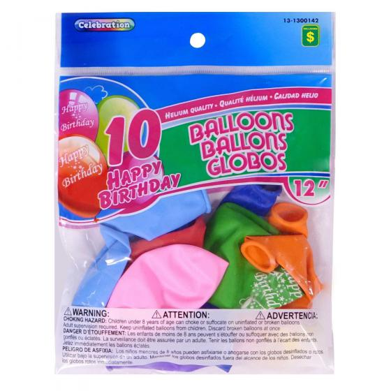 "10PK 12"" 'Happy Birthday' Balloons (Assorted Colours)"