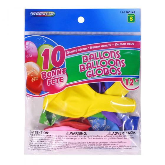 "10PK 12"" 'Bonne Fête' Balloons (Assorted Colours)"