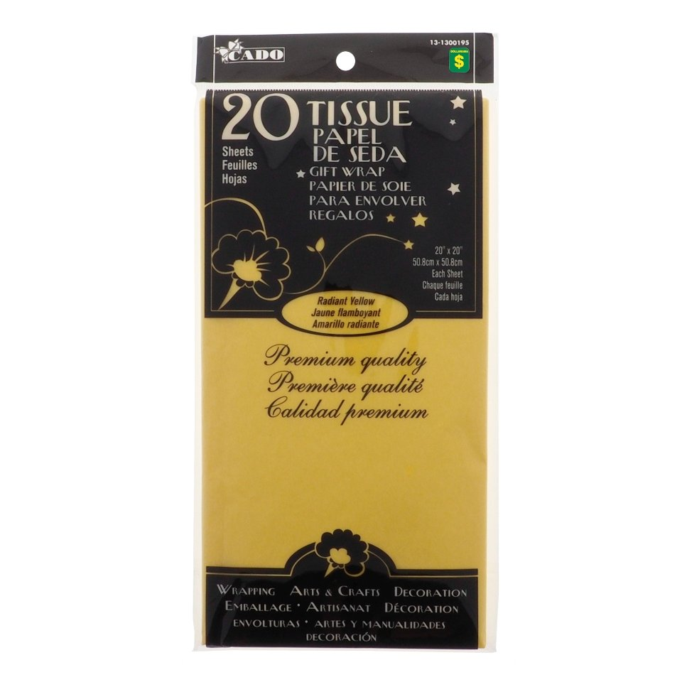 20 feuilles de papier de soie jaune radiant
