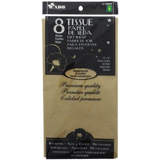 8 feuilles de papier de soie or miroitant