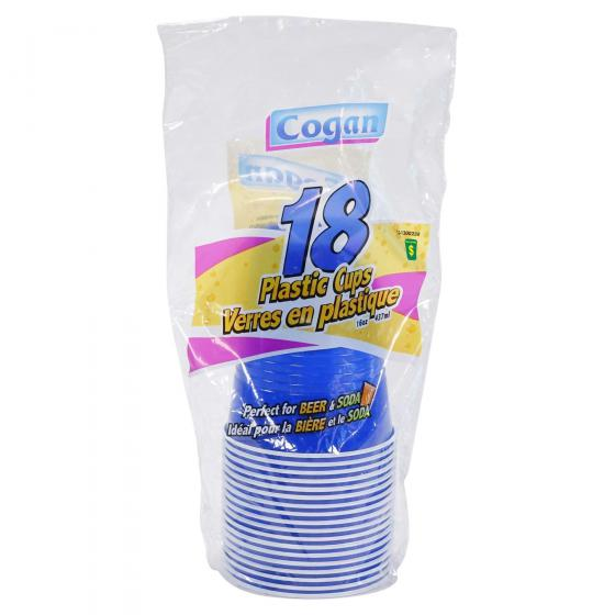 18PK Plastic Cups (Assorted colours)