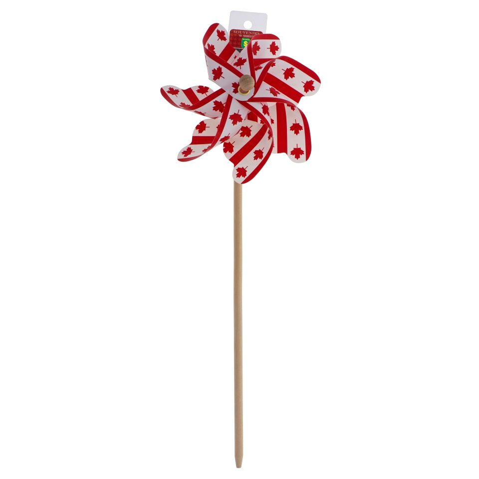 CANADA SOUVENIR PINWHEEL WITH WOODEN HANDLE