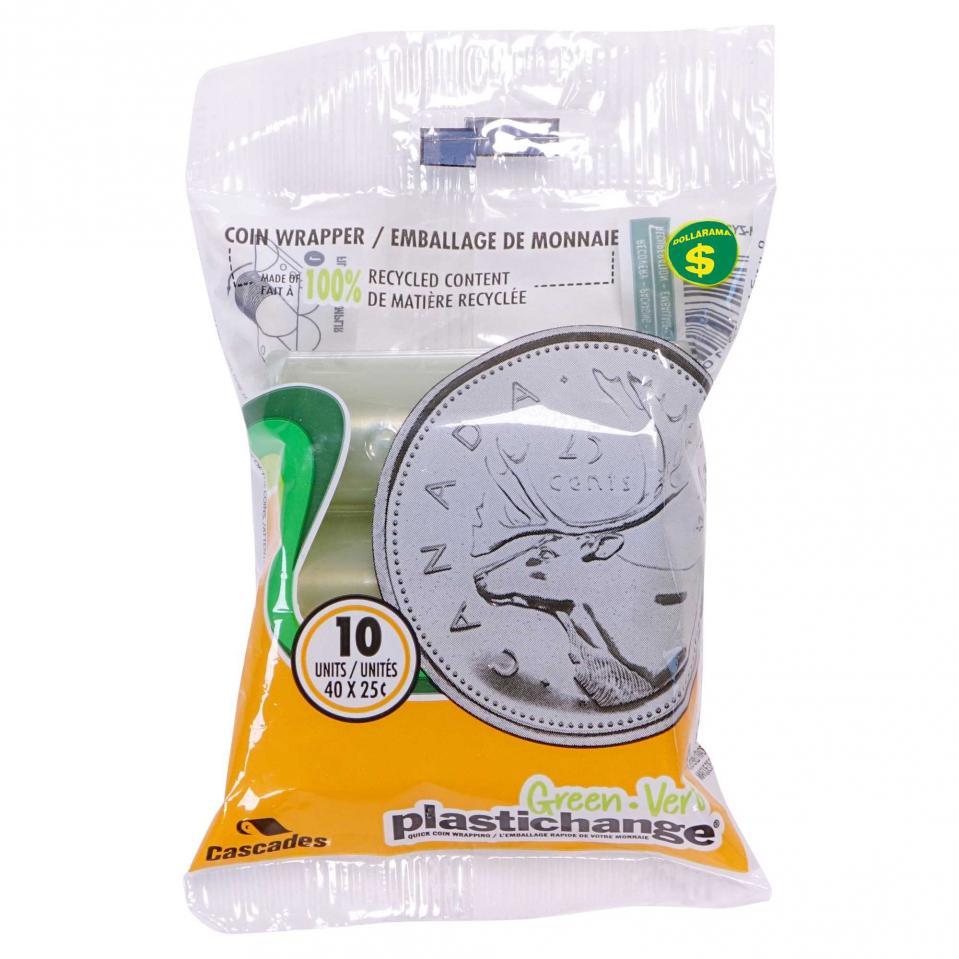 Emballage de pièces de 25¢ en plastique