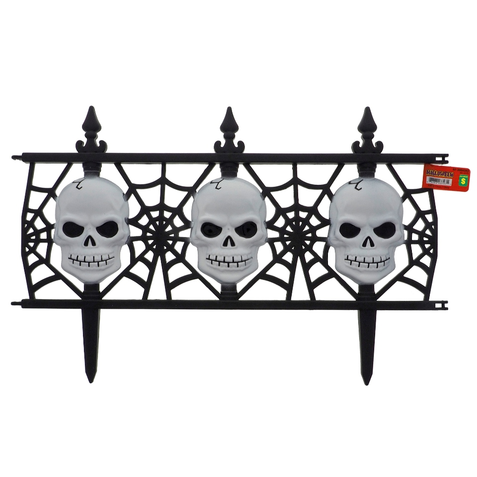 Plastic Fence with Skulls and Webs