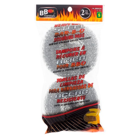 Paquets de 2 tampons en acier pour barbecue