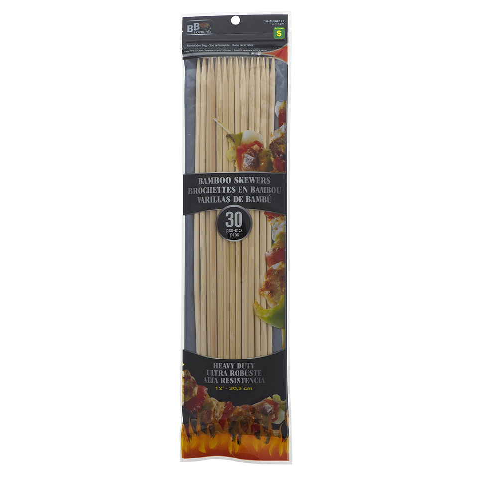 30Pc Heavy Duty Bamboo Bbq Skewers