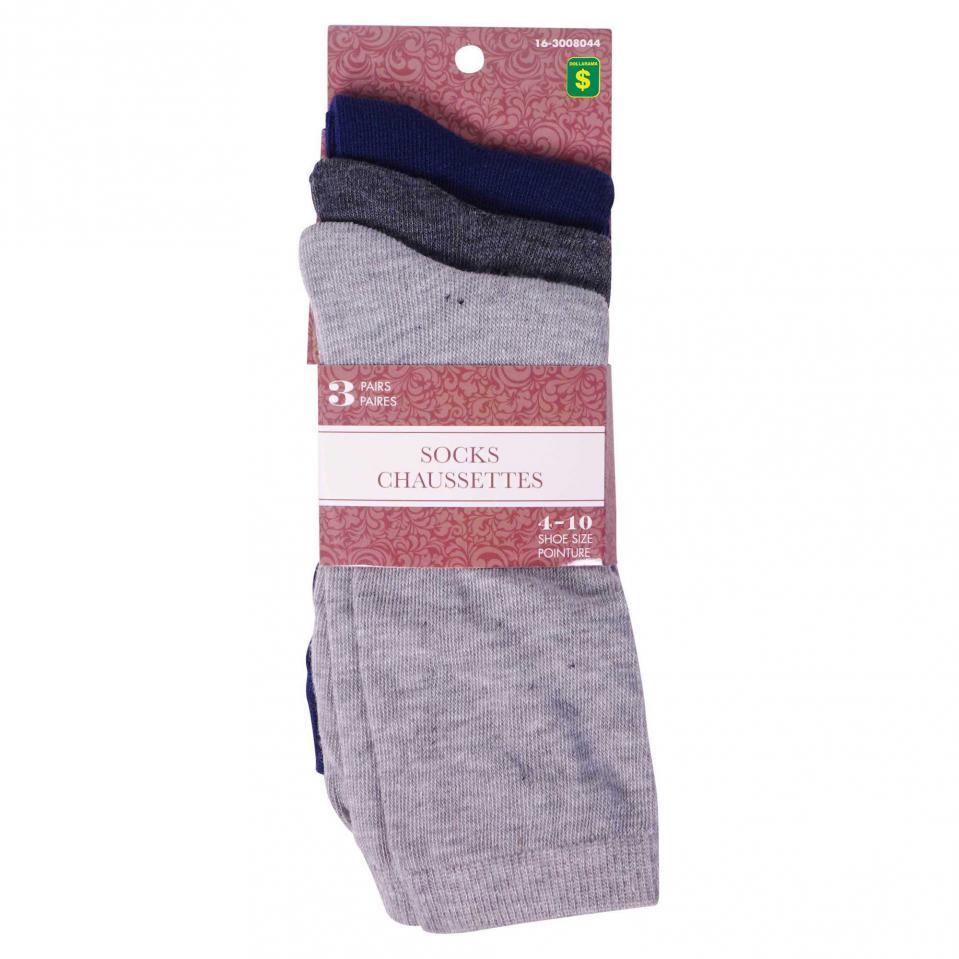3PR Women's Crew Socks (Assorted Colours)