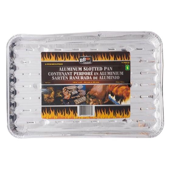 3PK Slotted Aluminum BBQ Tray
