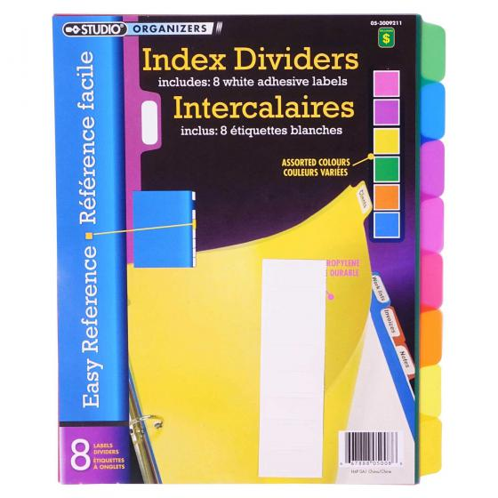 8PK Index Dividers (Assorted Colours)