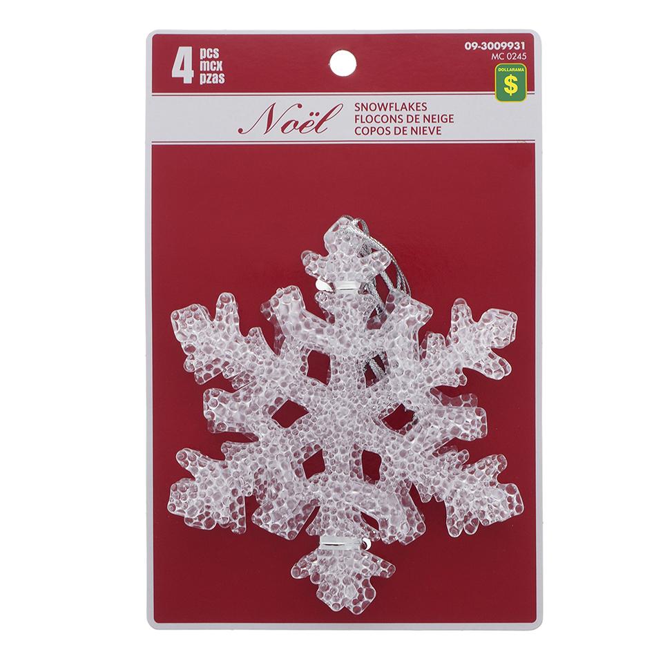 4Pk Clear Hard Plastic Snowflake Tree Ornament