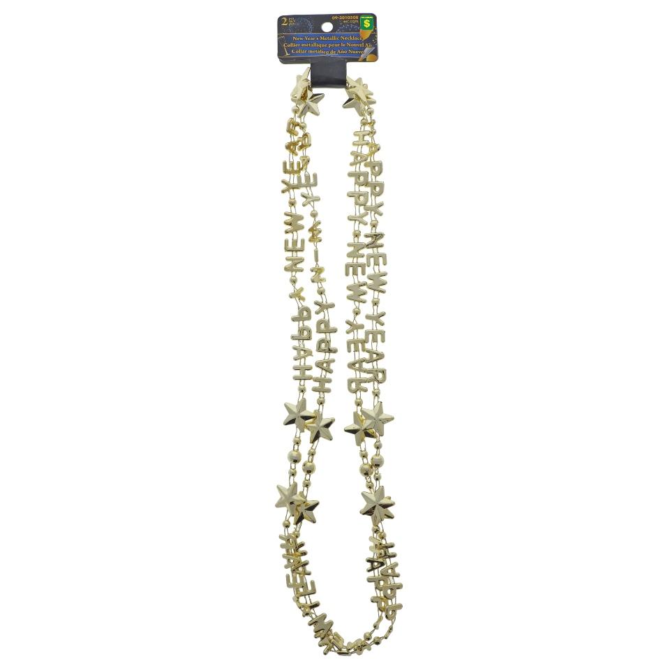 """Happy New Year"" Metallic 2Pk Necklace"
